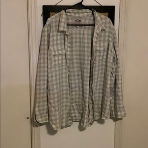 Old Navy XXL Gray and White Plaid Shirt